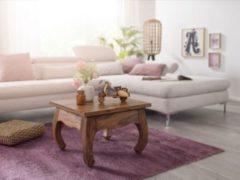Wohnling WOHNLING Couchtisch Massiv-Holz Sheesham 60 cm breit Wohnzimmer-Tisch Design dunkel-braun Landhaus-Stil Beistelltisch