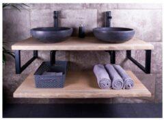 SaniGoods Massief eikenhouten badmeubel 190cm met natuurstenen waskommen