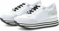 KUNOKA STRIPY 4.5A Silver White - Sneakers Dames - maat 38 - Wit Zwart Zilver