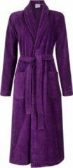 Badrock Dames badjas paars - velours katoen - paarse badjas sjaalkraag - maat L/XL