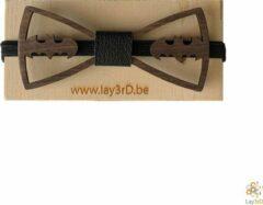 Bruine Lay3rD Lasercut - Houten Vlinderdas - Strikje Batman - Donkere Walnoot - Zwart Leer