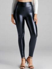 Marineblauwe YOINS Solid Color Leather Base Leggings