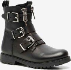 Groot leren meisjes biker boots - Zwart - Maat 32