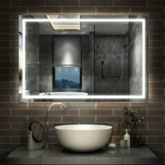 Aica Sanitair Badkamerspiegel 160x80cm LED spiegel met verlichting,wandspiegel,enkele touch schakelaar,anti-condens,koud wit