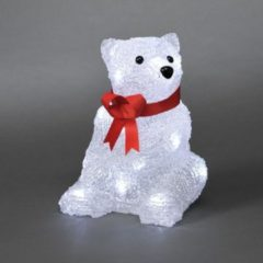 Witte Konstsmide Acrylic sitting bear, LED Geschikt voor gebruik binnen 16lampen LED Wit