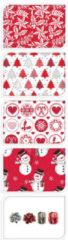 Bellatio Decorations Kerst Inpakpapier/cadeaupapier Set Rood/wit 13-delig - Kerstcadeaus/kerstcadeautjes Inpakken Pakket