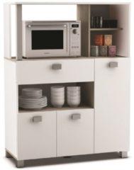 Young Furniture Keukenkast Basal 132 cm hoog - Wit met Acacia