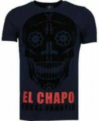Blauwe Local Fanatic El Chapo - Flockprint T-shirt - Navy - Maten: XXXL