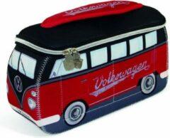 VW Collection - VW T1 Bus 3D Neopren Universaltasche - Toilettas maat 30 x 14 x 12 cm, grijs/bruin/blauw