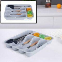 Decopatent® Besteklade - Met 5 Vakken - Bestekbak - Kunstof - Bestekbakken - Keukenla bestek organizer - 26 x 33 x 4.5 Cm - Grijs