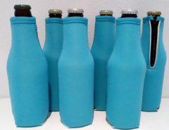 Lichtblauwe Koozie.eu - 6 stuks bierfleshouder- flessen koel houder | bierfleshoes | Exclusief Blauw