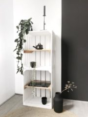 Bruine Steigerhoutpassie Fruitkist wit/oud - set van 32 - L 40 x B 30 x H 50 cm
