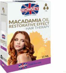 RONNEY Macadamia-olie Herstellende werking Haartherapie Versterkende olie voor droog en verzwakt haar 15ml