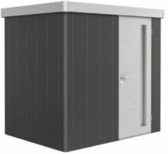 Van Kooten Tuin en Buitenleven Metalen berging Neo 1B 236x180 cm met enkele deur - Donkergrijs/ zilver