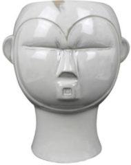 Present Time Bloempotten Plant pot Mask round glazed Wit