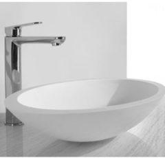 Witte Praya Wiesbaden solid surface opbouwwastafel ovaal 59x35x11cm mat wit 36.4041