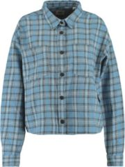 Blauwe America Today Billy blouse met rtuidessin en borstzakken