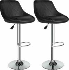 Zilveren TecTake barkruk - Set van 2 barkrukken barstoel tafelkruk kruk, design - 401570