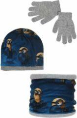 Minions - Winterset - Muts, Buff & Handschoenen - Donkerblauw & Grijs - 52 cm - 100% Acryl