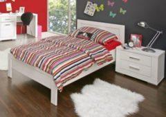 Bett 90 x 200 cm mit Nachtkommode weiss matt FORTE MÖBEL Snow