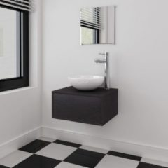 VidaXL Set 4 Mobili per bagno con lavandino con rubinetto nero