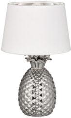 Reality, Tafellamp, Pineapple 1xE27, max.60,0 W Textiel, Wit, Armatuur: Keramiek, zilver Ø:28,0cm, H:43,0cm Snoerschakelaar,IP20,Zonder lichtbron