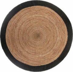 Naturelkleurige Atmosphera Créateur d'intérieur® Jute vloerkleed rond met naturel met zwarte rand diameter 120 cm