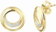 Goudkleurige TFT Oorknoppen Rond Diamant 0.04ct (2x 0.02ct) H SI Geelgoud