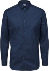 Marineblauwe SELECTED HOMME, Herren Overhemd, navy