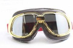 Ediors retro goud, bruin leren motorbril | Donker / Smoke