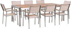 Bruine Beliani Tuinset eucalyptushout met 8 gestoffeerde stoelen beige GROSSETO
