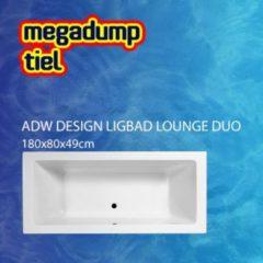 Douche Concurrent Ligbad Inbouw Lounge Rechthoek 1-2 Persoons Duobad 80x180x49cm Acryl Badkuip Glans Wit