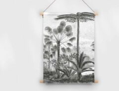 Grijze Made on Friday - Textielposter Jungle Drawing 60x90cm - Kendal (Twill 210 gr./m2)