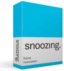 Snoozing Flanel Hoeslaken - 100% Geruwde Flanel-katoen - Lits-jumeaux (160x210/220 Cm) - Turquoise
