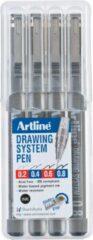 Zwarte Artline Fineliner Drawing System etui van 4 stuks: 0,2 - 0,4 - 0,6 en 0,8 mm