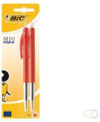 Rode Bic balpen M10 Clic op blister, medium punt, rood