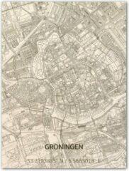Naturelkleurige Brandthout houten stadskaart Groningen 70x50 cm