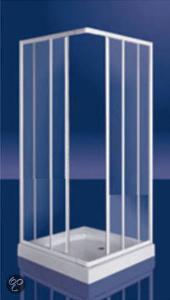 Afbeelding van Plieger Class douchecabine hoekinstap 3 mm glas 80/90x185 cm, wit