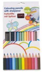 Merkloos / Sans marque 12 dikke kleurpotloden met puntenslijper