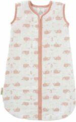 Roze Fresk slaapzak muslin 2-laags wit Whale mellow rose