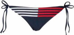 Rode Tommy Hilfiger strik bikinibroekje met strepen marine - Maat S