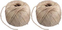 Creme witte 2x Naturel touw 150 meter op rol - 3 mm - Sisalvezels 500 grams - Klus/tuin/hobby touw/draad