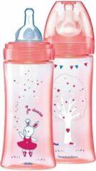 Roze Merkloos / Sans marque Dodie fles 330ml 2 stuks speen maat 3 6 mnd+