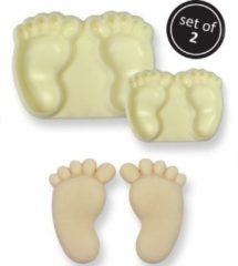 Witte J''E''M JEM Pop it uitsteker/mal Baby feet (baby voetjes) set/2