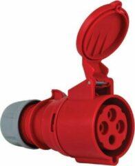 Mete - CEE female 4 polig 6H 32A IP44 kracht - rood - stekker 380-415VAC