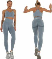 Peachy® Sportlegging en Top - Yoga - Fitness set - Scrunch Butt - Dames Legging - Sportkleding - Fashion legging - Broeken - Gym Sports - Legging Fitness Wear - Blauw - maat S - High Waist - Valt klein
