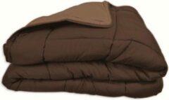 Bruine Merkloos / Sans marque Dekbed in vlakken doorgestikt - 160x220 - Chocolade / Mokka