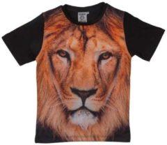Zwarte Merkloos / Sans marque Regular fit Jongens en meisjes T-shirt Maat 116