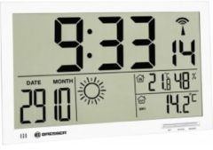 Merkloos / Sans marque Bresser MyTime Jumbo LCD Weerwandklok - Wit