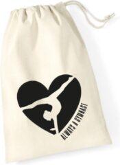 Gebroken-witte Sparkle&Dream Leertjes/Lusjes Tasje 'Love Gymnast', voor turnen en gymnastiek